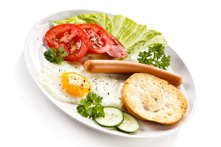 sanwich: Breakfast with fried egg and sausage Stock Photo