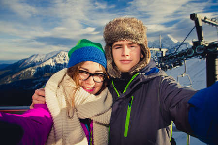 piste: Young people on winter holidays