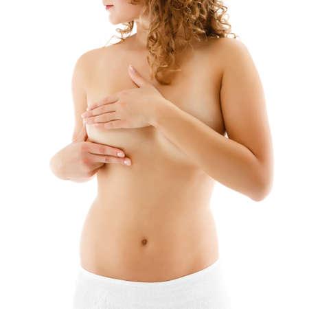 mujeres jovenes desnudas: Mujer examinar su pecho