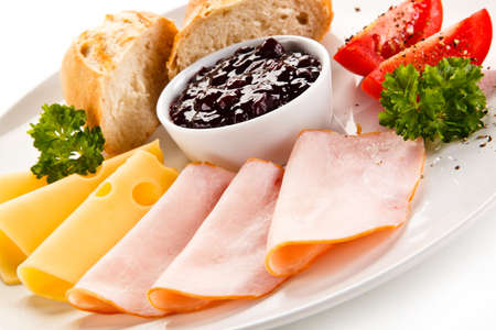 stripping: Breakfast - ham, cheese, bread and vegetables