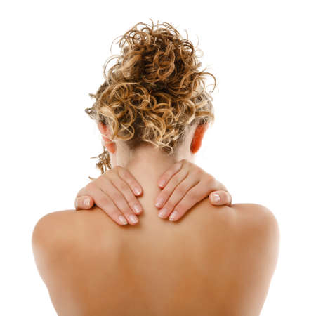 Woman massaging pain back Imagens
