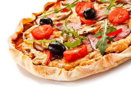champignons: Pizza on white background Stock Photo