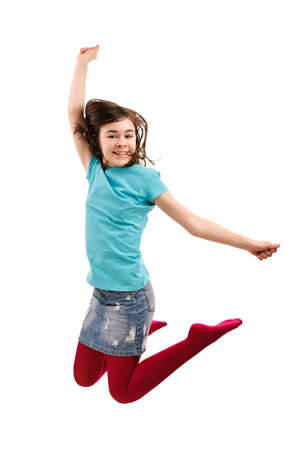 Girl jumping isolated on white background photo