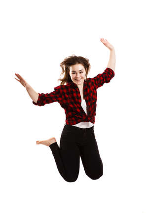 Young woman jumping on white background Stock Photo