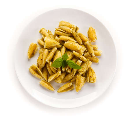 Penne, pesto sauce and vegetables