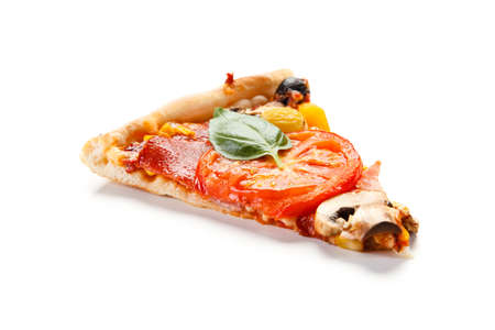 Piece of pepperoni pizza with mushrooms and olives