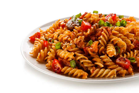 Pasta with tomato sauce on white background Stock Photo
