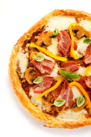 Pizza on white background Stock Photo