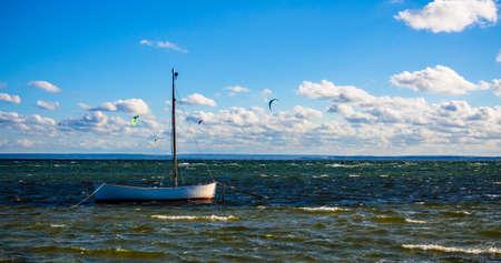 kiteboarding: sea landscape scenery view Stock Photo