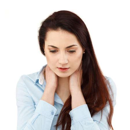 back ache: Woman massaging neck pain Stock Photo