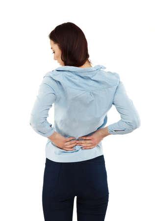 back ache: Woman massaging pain back Stock Photo