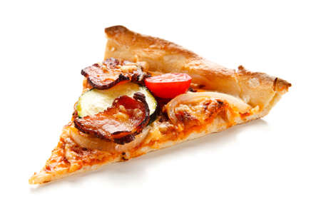 Piece of pizza with vegetables on white background