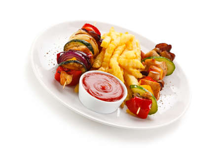 Shashlik - Grilled Meat with Vegetables on White Background