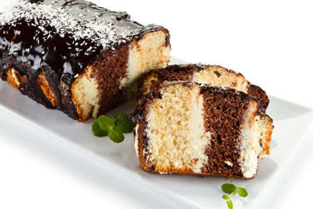 Pound cake with chocolate icing