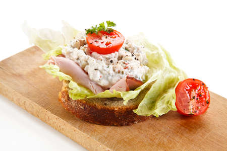 Sandwich with ham, cottage cheese and vegetables