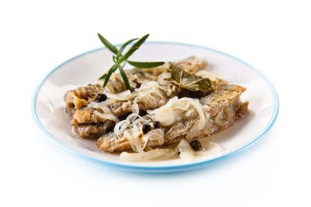 grill: Fish dish - fried herring in vinegar Stock Photo