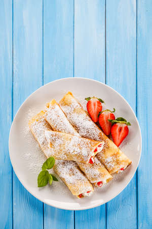 Sweet crepes with fruits