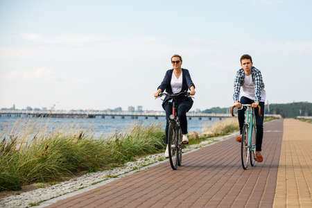 people riding bicycles Stock Photo