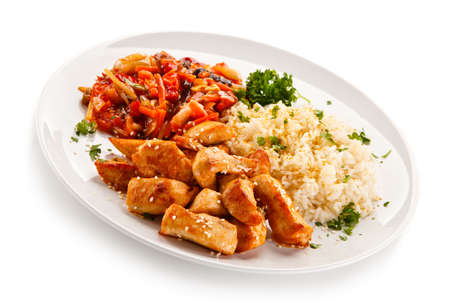 Chicken meats with rice and vegetables Stock Photo
