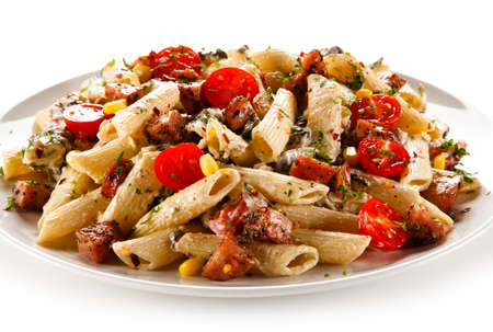 Pasta with sausages and vegetables