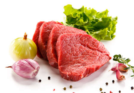 Fresh raw beef on white Stock Photo