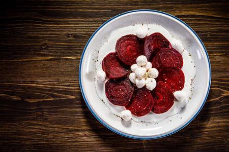 Beetroot with mozzarella and cream