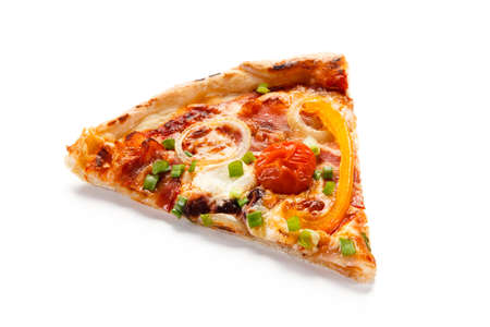 Piece of pizza with ham and vegetables on white background