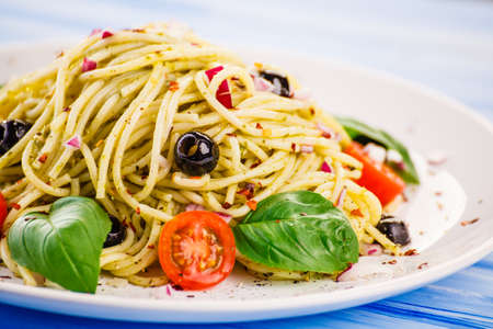 Pasta with vegetables 免版税图像