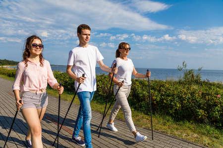 Nordic walking- Family training at seaside
