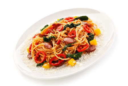 Pasta with tomato sauce and spinach