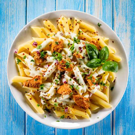 Pasta carbonara and vegetables