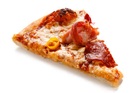Piece of pizza pepperoni with salami