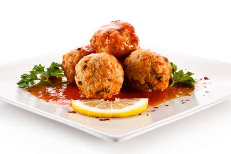 Roast meatballs with sauce Foto de archivo - 114759973