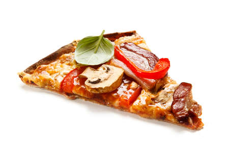 Pizza with bacon and champignon on white background 免版税图像