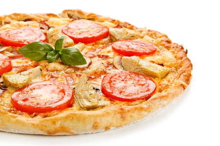 Pizza with mushrooms and artichokes Archivio Fotografico