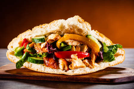 Kebab on cutting board Stockfoto