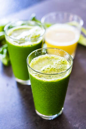 Smoothie with vegetables and fruits Stock Photo - 124571294