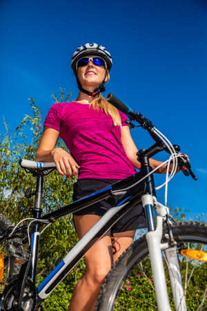 Young woman cycling outdoor