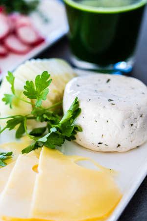 Breakfast - cheese and taste vegetables