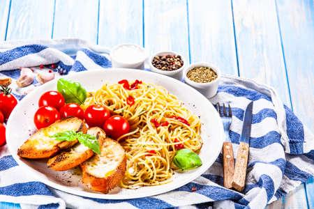 Spaghetti aglio e olio - pasta with chili and garlic