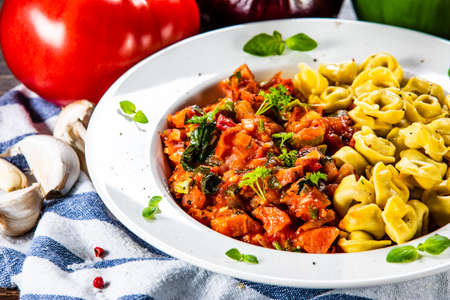 Tortellini with sausage and vegetables