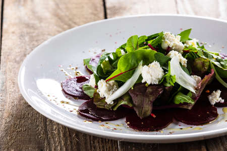Salad with beetroot cottage cheese and lettuce
