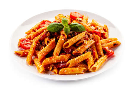 Penne with meat, tomato sauce and vegetables Banco de Imagens