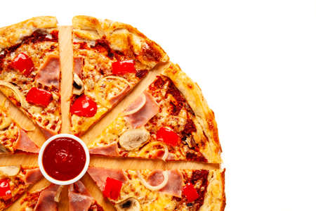 Top view of pizza with ham on white background