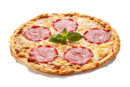 Margherita pizza on white background