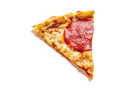Slice of margherita pizza on white background