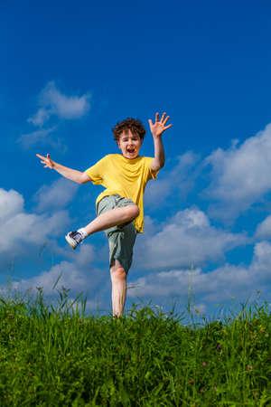Boy jumping, running outdoor