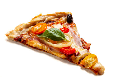 Slice of pepperoni pizza with tomatoes, mushrooms and pepper