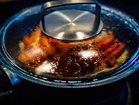 Fried vegetables in pan