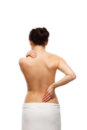 Woman massaging pain back Banque d'images